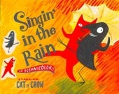 Funny Cat n Crow ACEO Art Print - Singing in the Rain - Vintage Movie Poster Gene Kelly Artwork Illustration