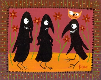 Halloween Card . Funny Crow with Cat Hat for Costume Folk Art Animal Card