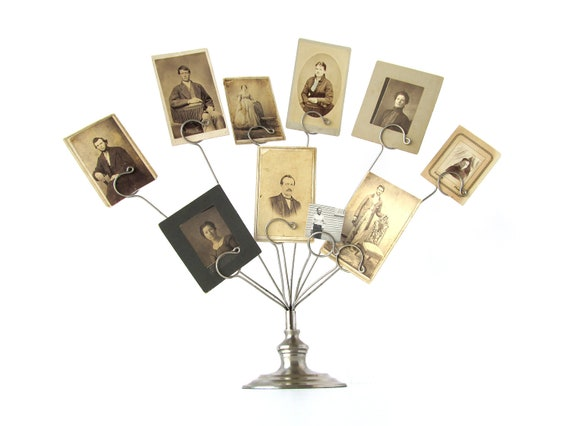Vintage PHOTO DISPLAY Family Tree with 10 Old Photographs