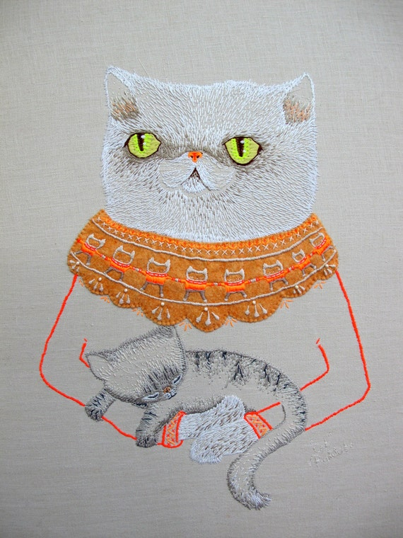 Squish-Faced Cat Embroidery