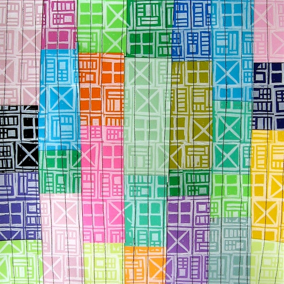 Geometric Hand Printed Quilted Paint Samples by laurawennstrom