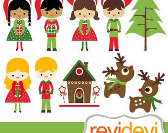 Christmas clip art sale / Santa's Little Helpers Cliparts / christmas clipart / kids, reindeer, instant download, red green