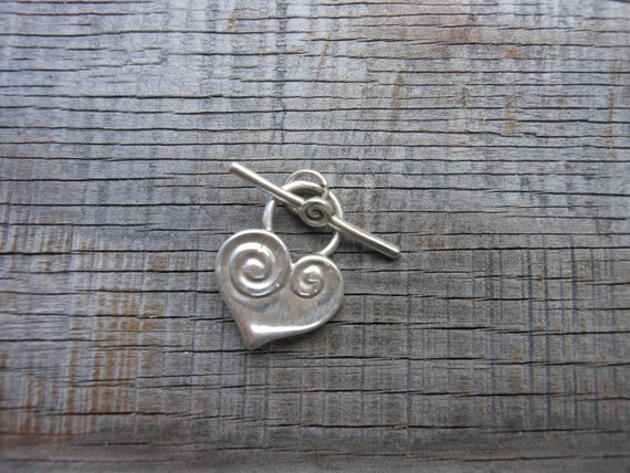 One 925 Silver Heart Toggle Clasp ( Not Plated )