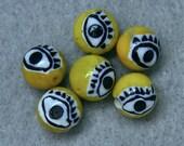Vintage MILLIFIORI EYE Glass Beads Yellow Black 9mm pkg6 eye9