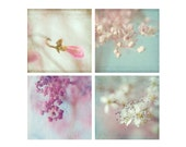 Four Flower Print Set, Flower Photography,  Floral Art Prints, Pink Mint Flower Wall Decor, Macro Photography, Bedroom Decor