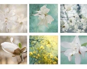 Magnolia Print Set, Magnolia Art, Floral Art Prints, Flower Print Set,  Bedroom Decor