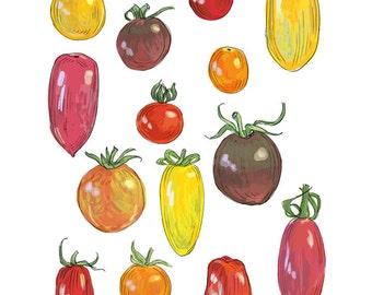 "ART509: Cherry Tomatoes Illustration 8"" x 10"" Art Reproduction - Farmer's Market Wall Art"