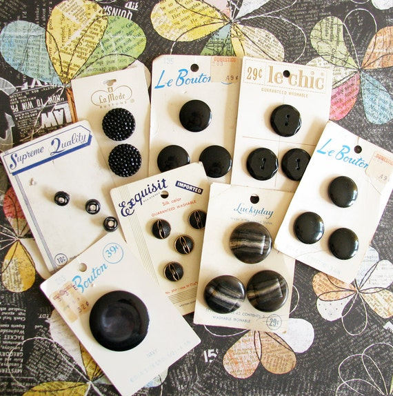 Licorice Drops...Vintage NOS Black Buttons