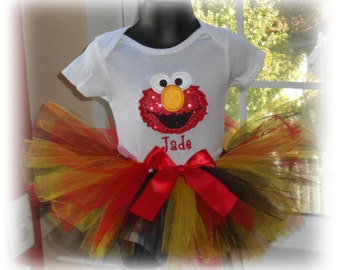 Infants Personalized Glitter Elmo Tutu Set