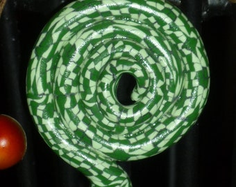 Valentine Gift Green Snake Coiled Necklace Pendant Checker board design Green and white Christmas ornament