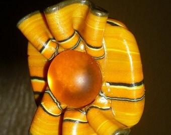 Pumpkin Orange Autumn Polymer Clay Necklace Pendant
