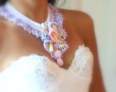 Calas Lilies crocheted statement necklace
