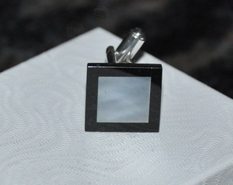 Cuff links-Mother of Pearl, Black Onyx, silver, Men's accessory, Gemstone Cuff Links