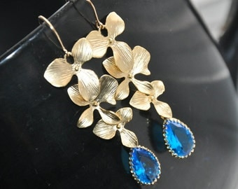 Dangle Earrings, Gold Earrings, Orchid Flowers, Blue Faceted Glass, Gold Filled Ear Wires, Nature Inspired, Wedding Jewelry