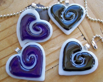 Fused Glass Heart Pendant -  black