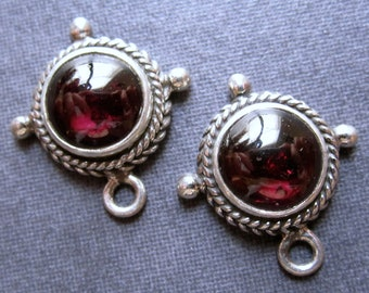 Solid Sterling Silver earring drops set with smooth polished garnet stones - 17mm X 15mm