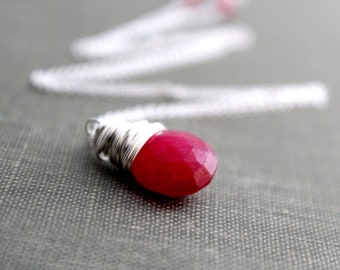 Ruby Solitaire Necklace, Sterling Silver Wire Wrapped, July Birthstone, Scarlet Red Valentines Day Gift Ideas