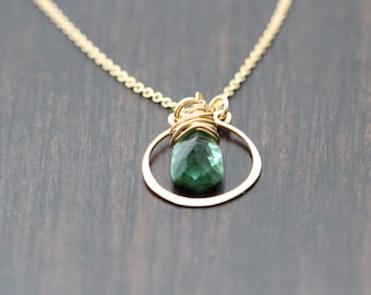 Gemstone Hoop Gold Necklace, Spearmint Green Quartz Pendant in 14k Gold Fill, Holiday Fashion - Lucia