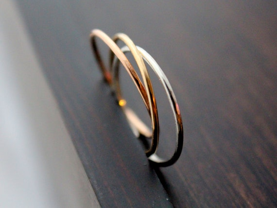 Thin Stacking Adjustable Rings, Stackable Midi  In Sterling Silver, 14K Gold Filled & 14K Rose Gold Filled -
