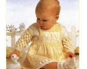 Vintage Baby Sweater and Pinafore Dress, Knitting Pattern, 1960 (PDF) Pattern, Hayfield 2618