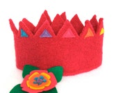Rainbow Flower Felt Crown with removable flower