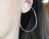Oval hoop earrings, non-pierced earrings, sterling silver slip on hoops, clip on alternative