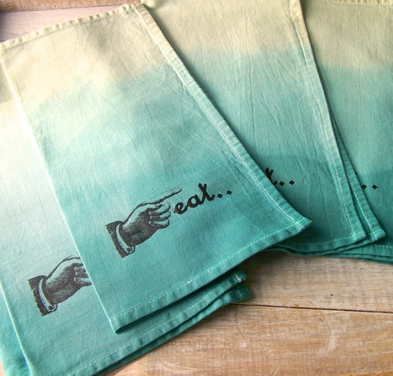 Cloth Napkin / Table Napkins / Beach House / Eco friendly / Blue Ombre / Eat / Dinner Napkins / TEAL AQUA / Set of 4