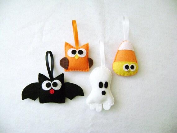 Felt Halloween Ornaments - Spooky Set - Candy Corn Bat Owl Ghost