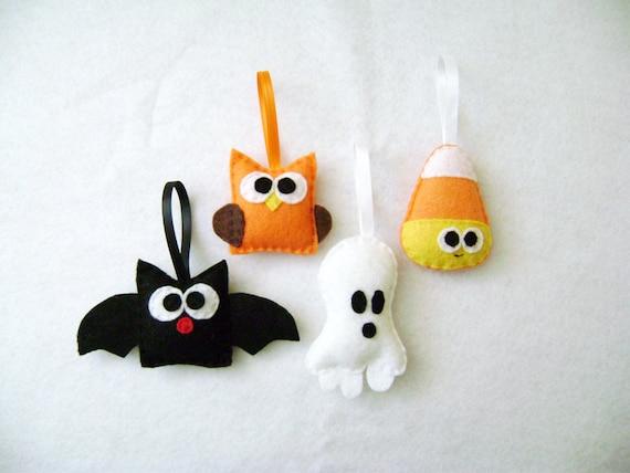 Halloween Ornaments, Felt Ornament, Spooky Set, Candy Corn Bat Owl Ghost - Made to Order