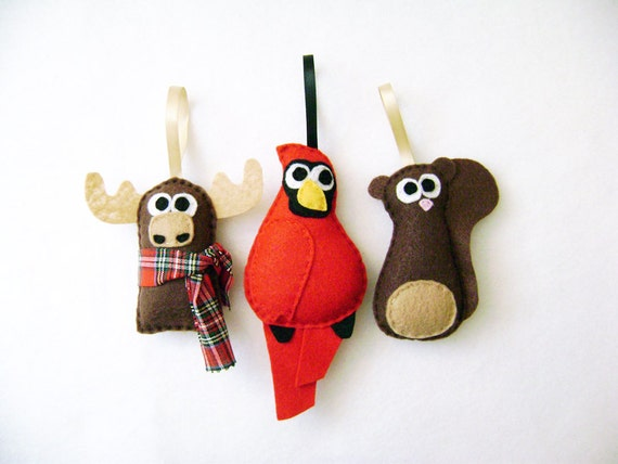 Felt Christmas Ornament Set, Forest Friends - Moose Cardinal Squirrel - Made to Order, Gifts under 50