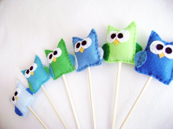 Owl Cupcake Toppers - Pretty Bird Set of Six Party Favors, Felt Animal, Boys Party, Woodland Decoration, Plant Stakes
