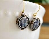 SALE - Button Earrings Brass Filigree Neo Victorian 1800s Blue Plaid