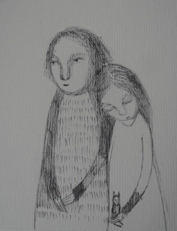 Closeness - Original miniature pen drawing on paper