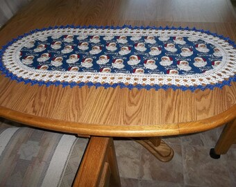 Christmas Santas, Crocheted Lace, Table Runner, Fabric Center, Crocheted Edge, Oval Table Runner, Table Topper, Christmas Centerpiece, Gift