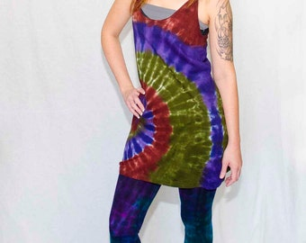 American Apparel Tie Dyed Racerback Tank Dress in Brown, Moss and Purple