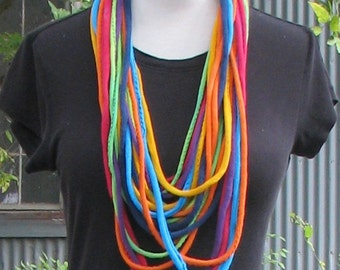 Tie Dye Hemp Cotton Jersey String Necklace Infinity Scarf in Rainbow