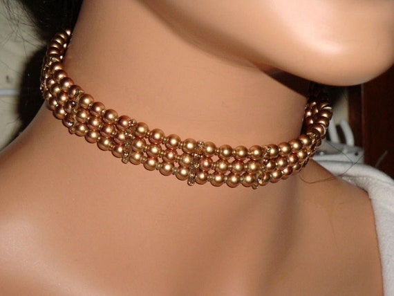Vintage Monet Choker Necklace, Golden Faux Pearl Choker, Pearls and Champagne Rhinestone