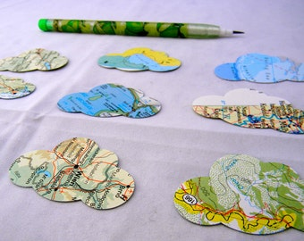 set of 50 recycled map cloud stickers