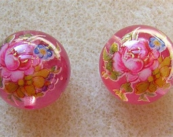 New Pair Beautiful Japanese Tensha Beads  ROSE BOUQUET on PINK 12mm