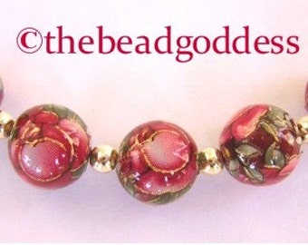 New Size 5 JAPANESE TENSHA Beads Red Rose on RUBY 10mm