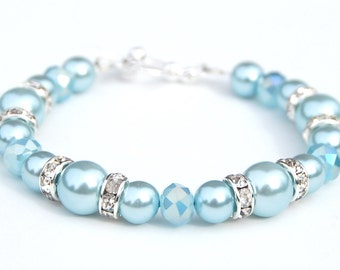 Light Blue Bridesmaid Bracelet, Baby Blue Pearl Crystal and Rhinestone Bracelet, Something Blue Wedding Jewelry, Bridesmaid Gifts