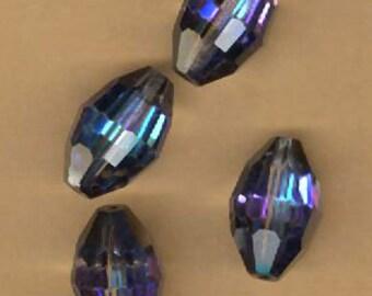 five vintage swarovski crystal beads BERMUDA BLUE, old article 351, AB, 15mm x 10mm