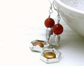 Carnelian Modern Geometric Dangle Earrings, Boutique Wearable Art, Pearl & Sterling Silver Drop Earrings, For Her Under 150
