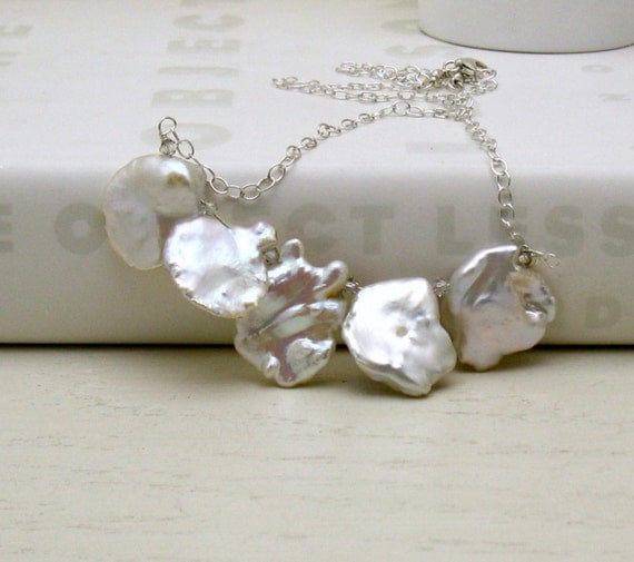 Modern White Luxe Keishi Pearl Sterling Silver Necklace, Pearl Bib Necklace, For Her Under 225