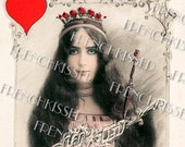 Instant Download Red Queen HEART Cleo de Merode playing Card Gemini TWIN French Postcard DIGITAL scan