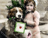 St Bernard Dog with Heart Package and Victorian Girl Antique French Digital Postcard Valentine's Day