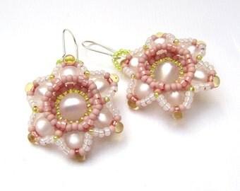 Beadweaving Tutorial, No. 30, Moonflower Earrings, Seed Bead Earring Pattern