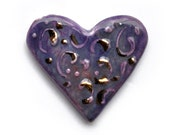 purple and gold heart cabochon