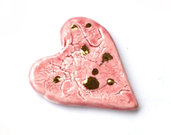 Pink porcelain cabochon heart with gold spots