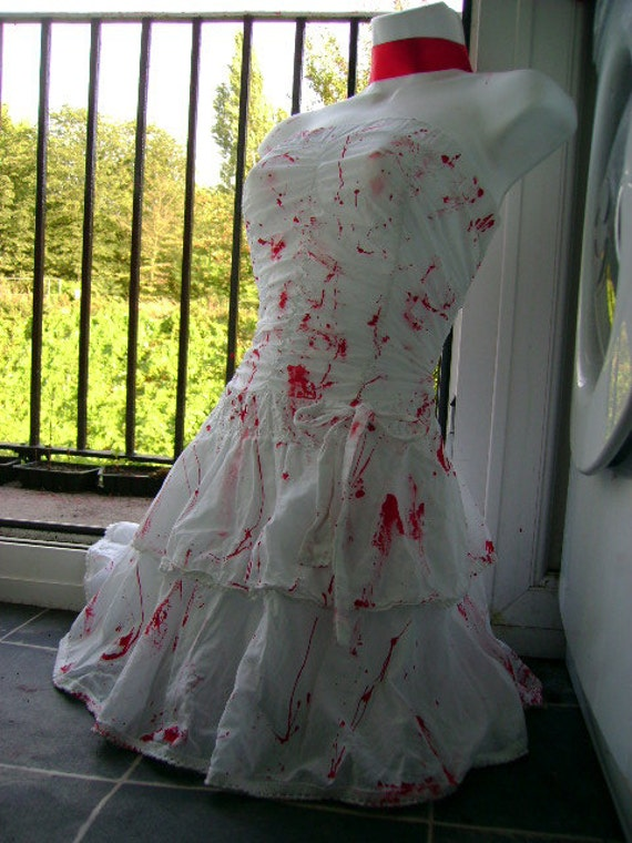 Sexy zombie dress costume halloween blood killer bride for Sexy wedding dress costume